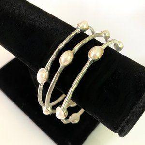3 Silver & Pearl Bracelets